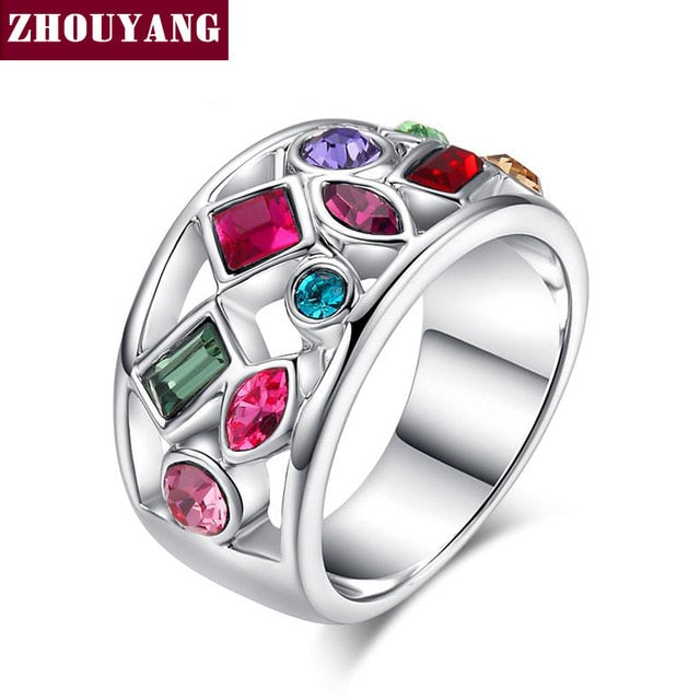 ZYR018 Imitation Crystal Statement Party Finger Rings Rose Gold Color Brand Crystal Jewelry for women Anel Wholesale
