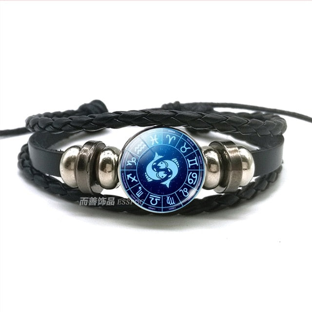 12 Constellations Glass Beads Button Leather Bracelet Zodiac Bangle Bracelets for Men Women Punk Jewelry Birthday Gifts
