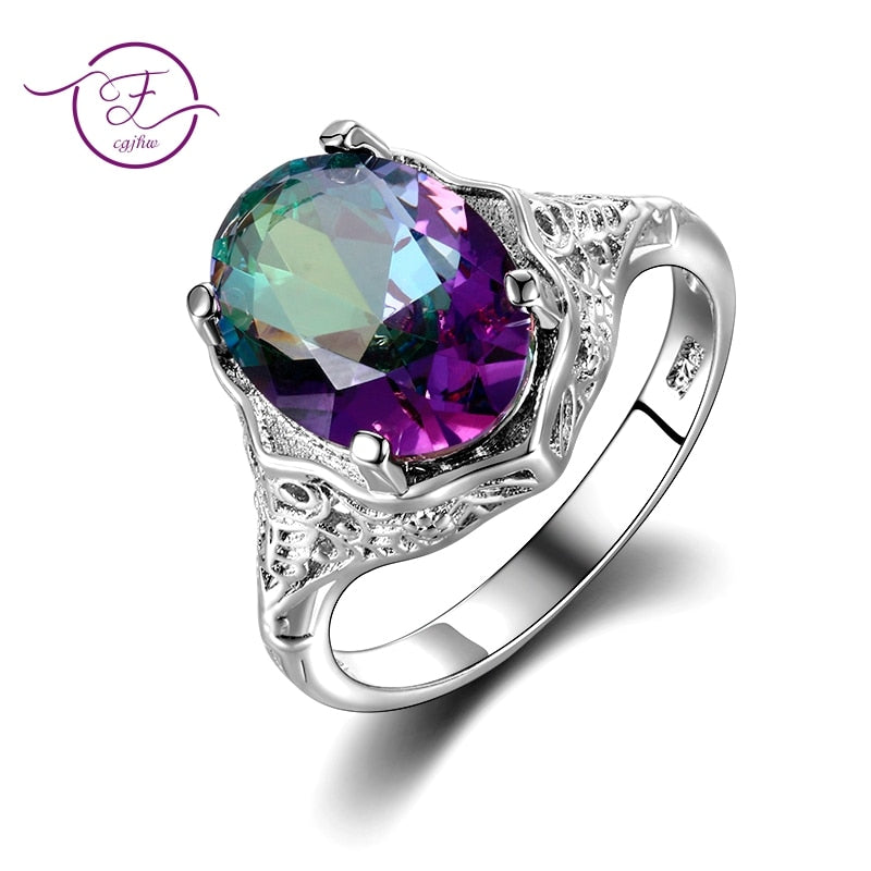 High Quality Genuine Rainbow Fire Mystic Topaz Ring Solid 925 Sterling Silver Jewelry Best Gift For Women Fine Jewelry Wholesale