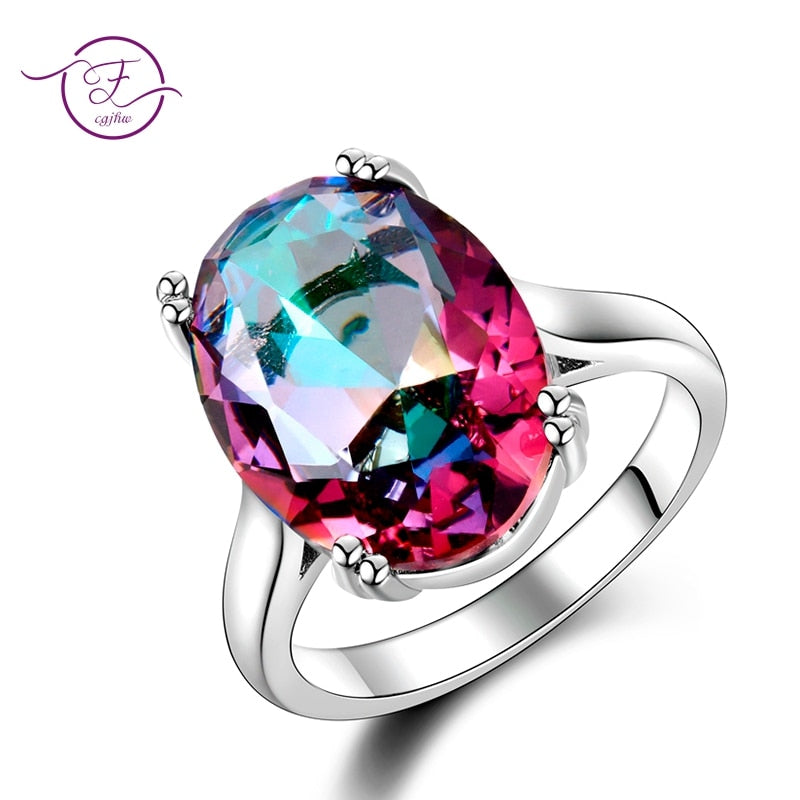 Fashion Women's Jewelry S925 Silver Ring Mystic Fire Rainbow Topaz Rings Promotion Elegant Wedding Jewelry anillos Party Gift