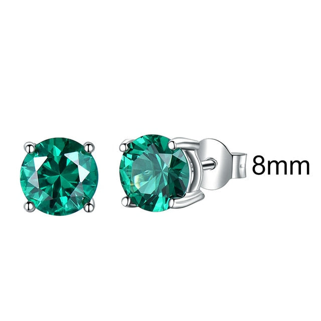 UMCHO Real 925 Sterling Silver Jewelry Created Russian Emerald Stud Earrings Elegant Anniversary For Women Birthday Gifts