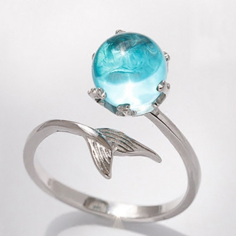 Sale Blue Crystal Mermaid Bubble Open Rings For Women Creative Fashion Jewelry