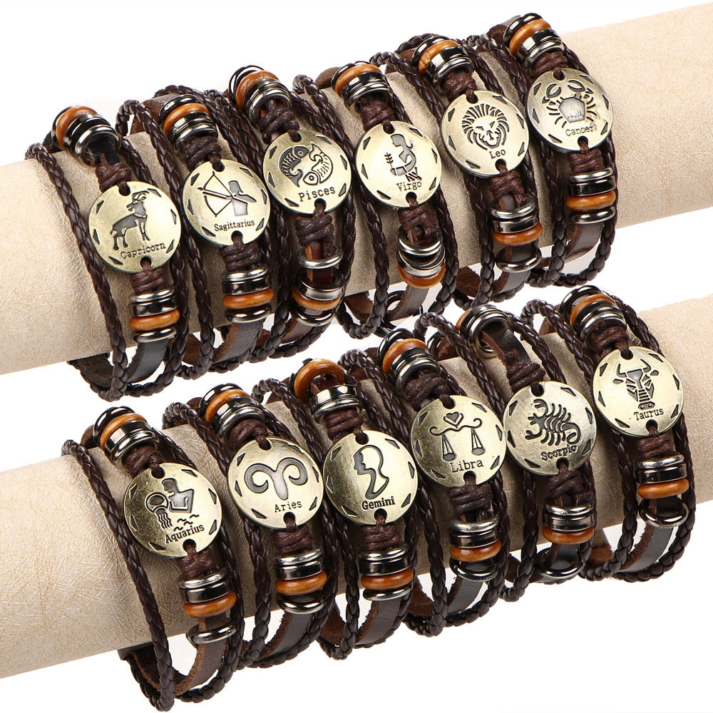 12 Constellations Bracelet for women Fashion Jewelry Leather Bracelet Men Casual Personality Zodiac Signs Punk Bracelet charm