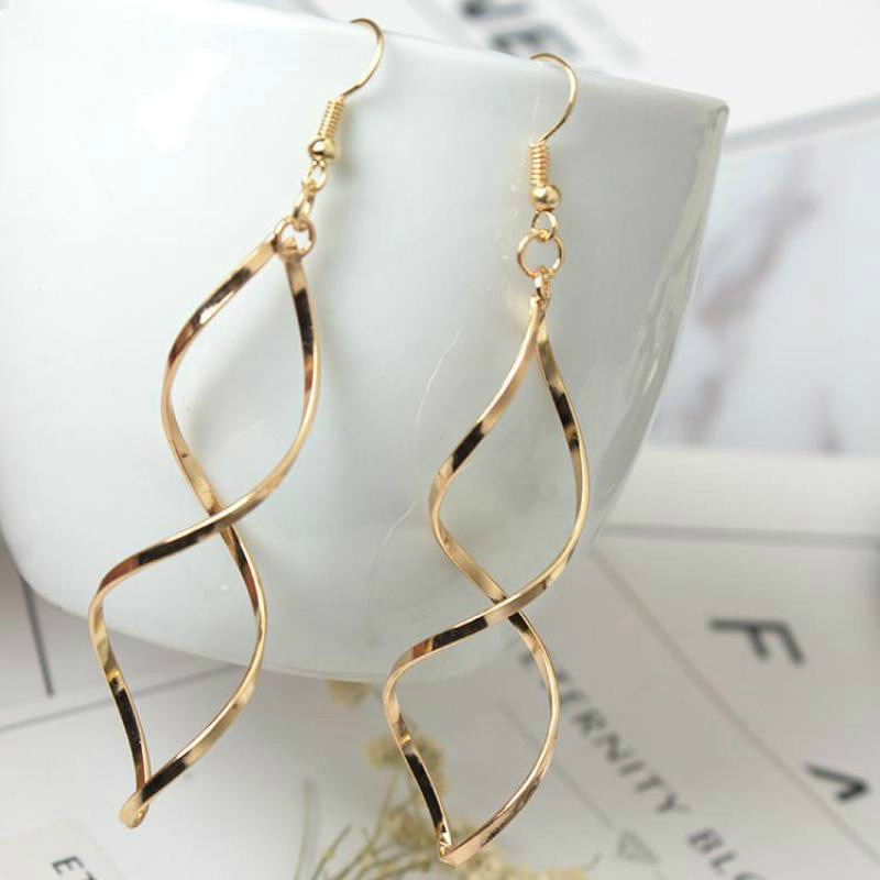 korean American Jewelry Minimalist Design Sense Earrings Spiral Wave Curve Earrings For Women Gift Earings Fashion Jewelry