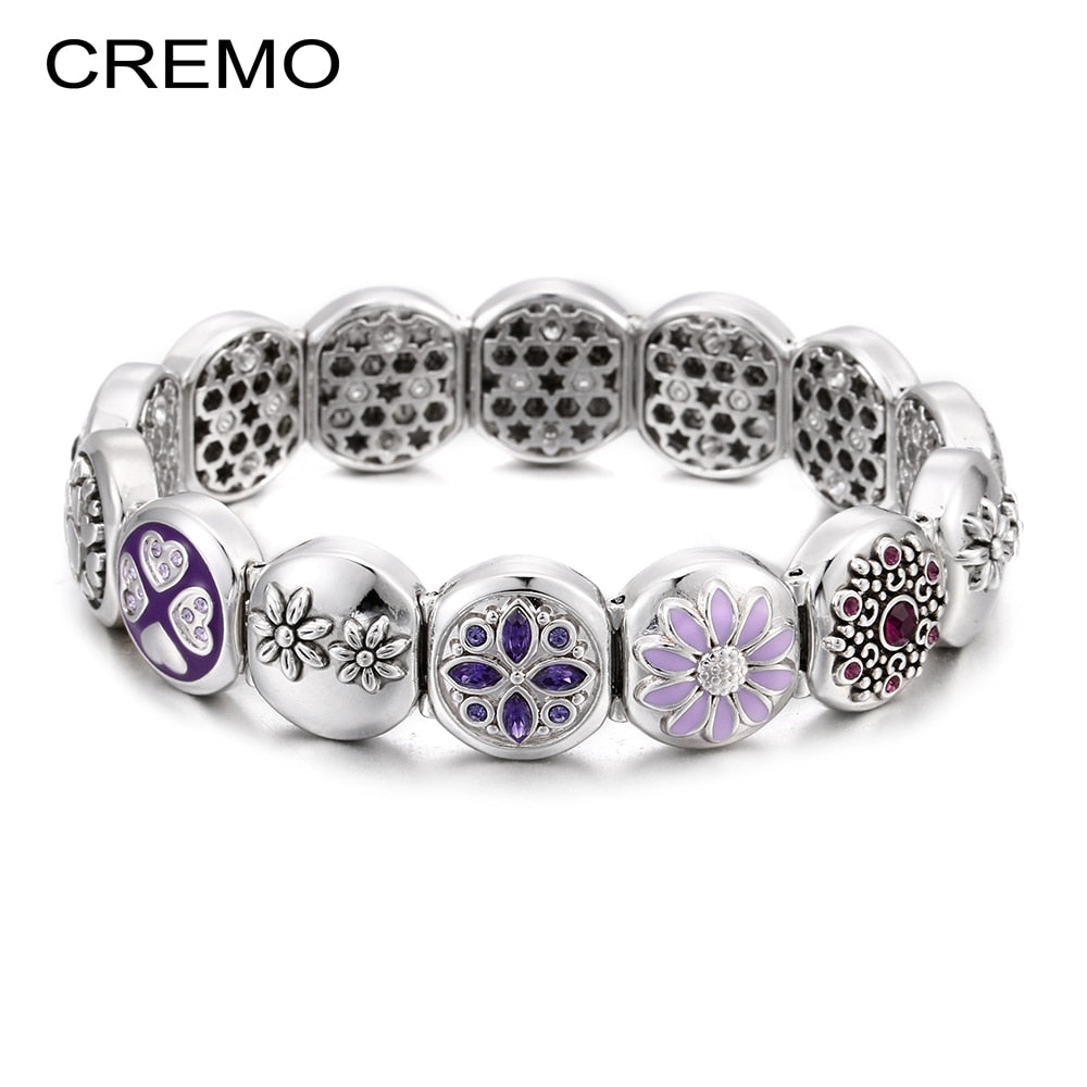 Cremo Changeable Charms-Bracelet Elastic Interchangeable Bracelet for Women Enamel Flower Bijoux Femme Modular Links Jewelry