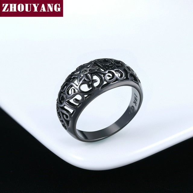 ZHOUYANG Ring For Women Flower Hollowing craft Rose Gold Color Silver & Black Gold Color Fashion Jewelry Friendship Gift R281