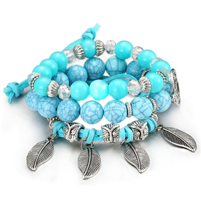 Brand Woman Boho Multilayer Beads Charm Bracelets for Women Vintage Resin Stone Bracelets & Bangles Pulseras Ethnic Jewelry