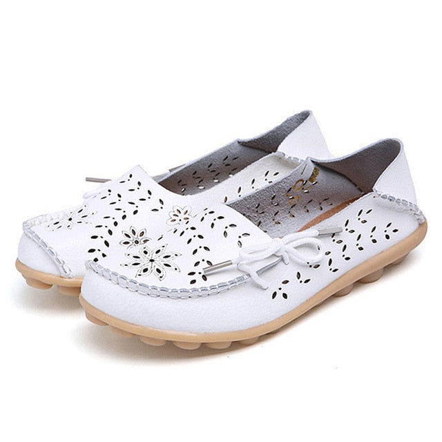 Female Ballet Flats Shoes Women Cut Out GenuineLeather Breathbale Moccains Women Shallow Shoes Solid Ballerina Ladies Shoes