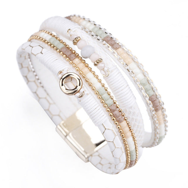 Amorcome White Leather Bracelets for Women Rhinestone Crystal Metal Charm Wide Multilayer Wrap Bracelets & Bangles Jewelry