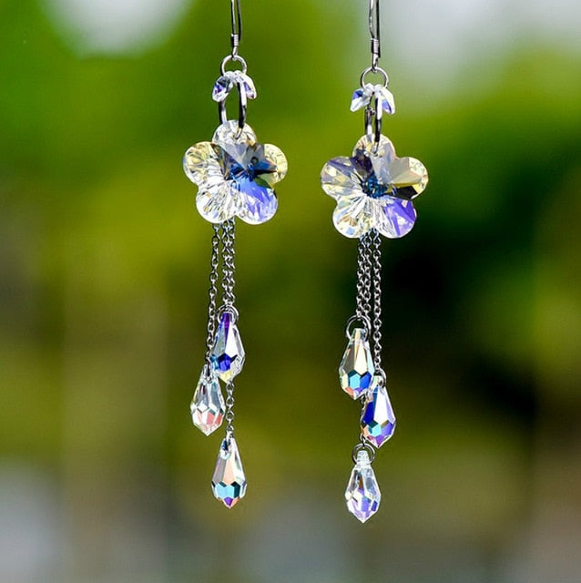 New handmade earrings rose with Austrian crystal tassels long European and American temperament female earrings