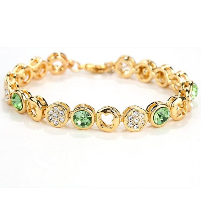 LYIYUNQ Classic Round Flower Bracelets For Women Fashion Crystal Bracelet Trendy Rhinestone Girls White Wedding Jewelry