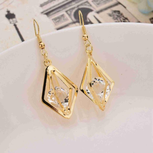 2018 popular original style crystal earrings stylish hollow prismatic earrings earrings jewelry for girls like gifts