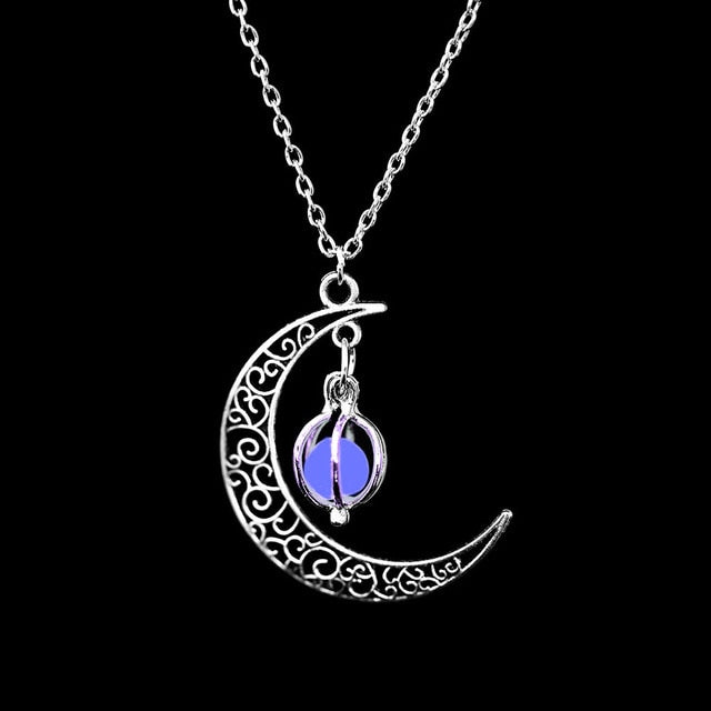 FAMSHIN 2019 New Hot Moon Glowing Necklace,Gem Charm Jewelry,Silver Plated,Women Halloween Hollow Luminous Stone Necklace Gifts