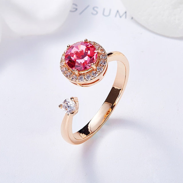 Cdyle Luxury Crystals from Swarovski Rotatable Ring For Women Adjustable Cocktail Ring Rose Gold Rings Trendy Party Jewelry