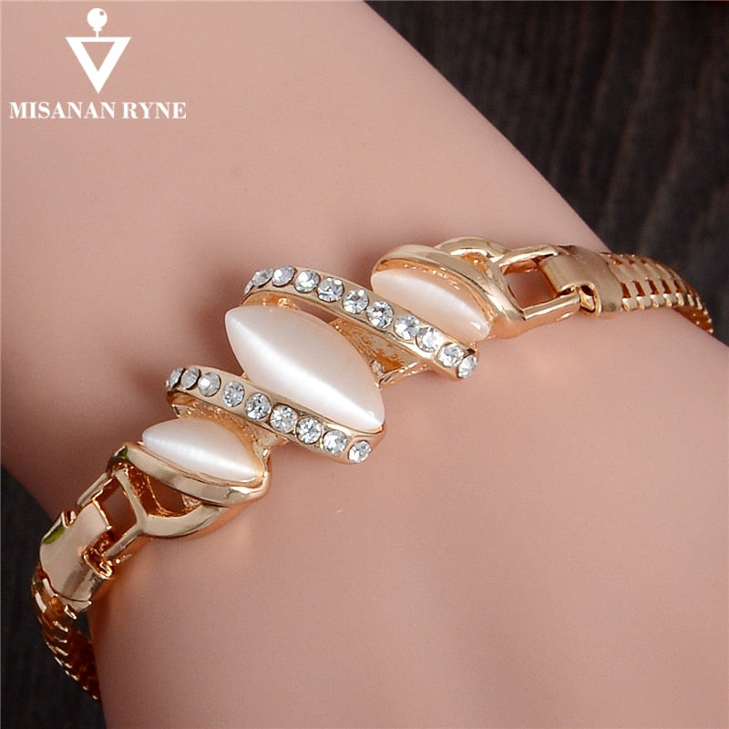 MISANANRYNE  Womens Jewelry Gold Color Cute Austrian Crystal Amazing Cat's Eye Stone Fashion Bracelets