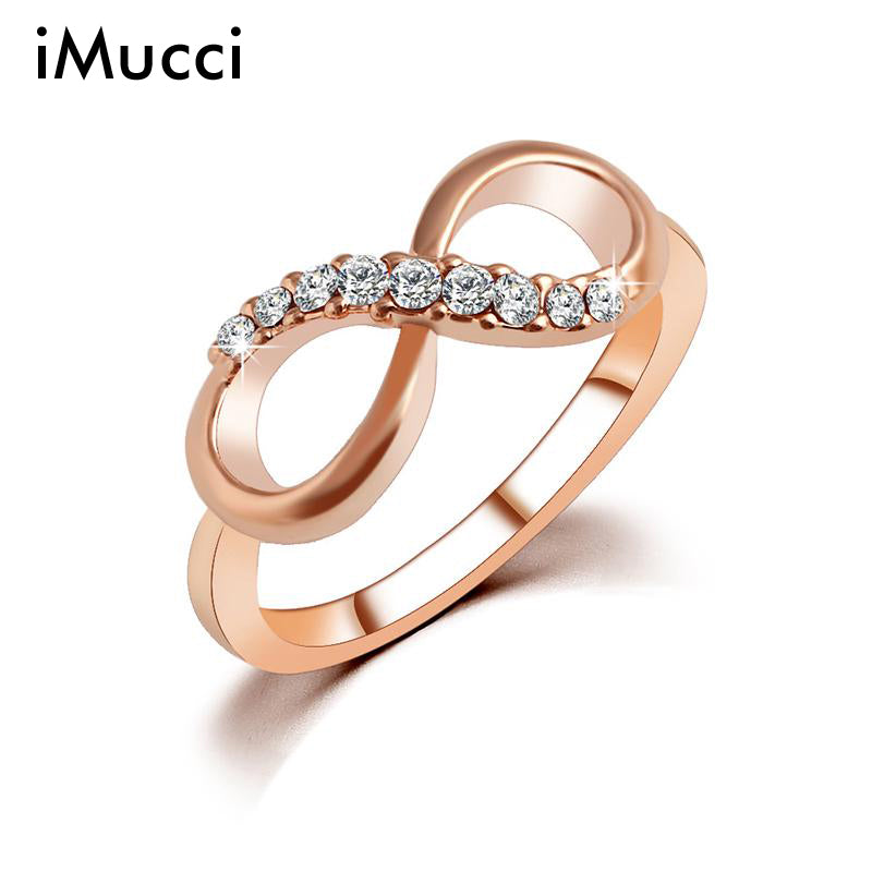 iMucci New Design hot sale Fashion Alloy Crystal Rings Gold Color Infinity Ring Statement jewelry Wholesale for women Jewelry