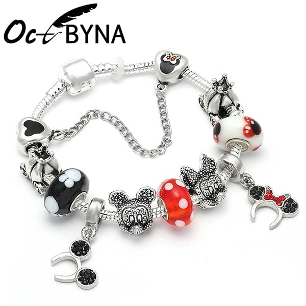 17 Styles Mickey Series Charm Bracelet For Women Kids Silver Color Minnie Mouse Chain Pandora Bracelet&Bangles Femme Jewelry