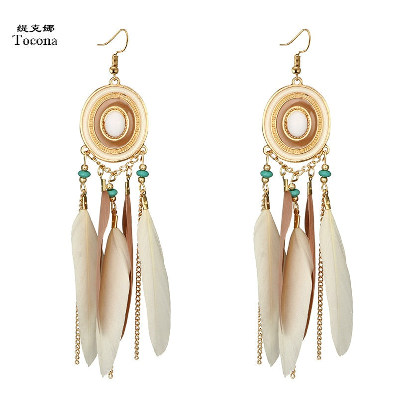 Tocona Bohemian Long Tassel Feather Earring Geometric Vintage Ethnic Pendant Drop Earring for Women Girl Earring Jewelry 4258