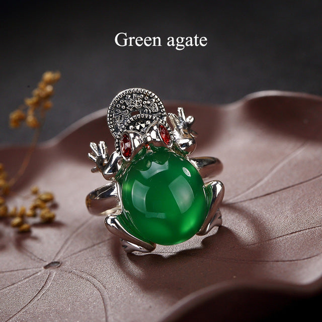 100% Genuine S925 Sterling Silver Chinese Style Hand Made Gem Vintage Rings Women Luxury Valentine's Day Gift Jewelry JZCN-18004