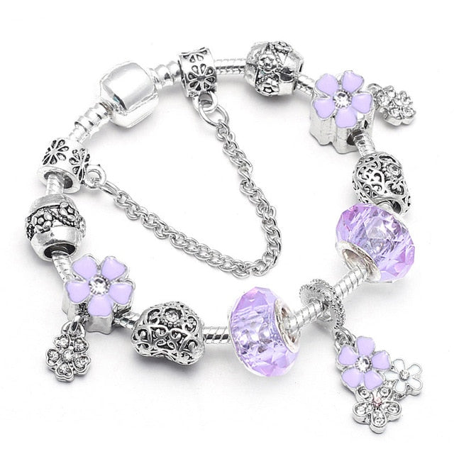 BAOPON Dropshipping Vintage Silver Color Charms Bracelets for Women DIY Crystal Beads Pandora Bracelets Women Pulseira Jewelry