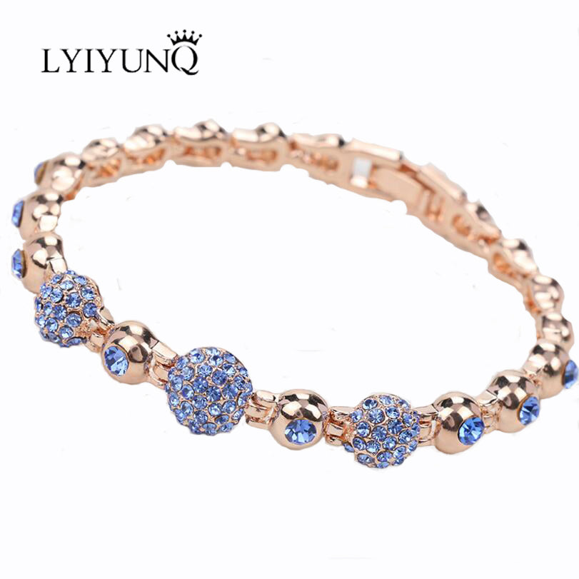 LYIYUNQ New Vintage Charm Bracelets For Women Classic Gold Color Round Crystal Bracelet Fashion Brand Girls Party Jewelry
