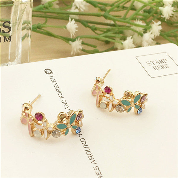 Butterfly love flower half circle temperament wreath stud earrings