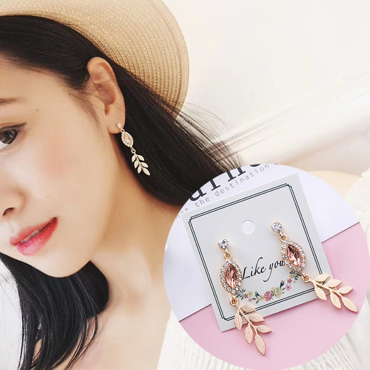 Vintage Crystal Plant Women Dangle Earrings Elegant Leaf Pendant Eardrop Earrings Pink Earrings For Women Drops Earrings