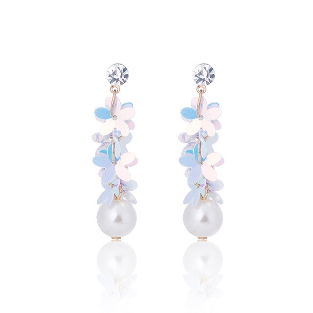 TDQUEEN Simulated Pearl Dangle Earrings Opal Pink White Color Multi Layer Flowers Jewelry Rhinestone ZA Statement Drop Earrings