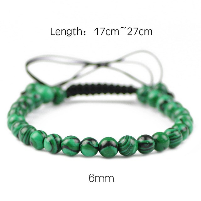 JHNBY Natural Peacock Stone Bracelet For Women 6/8/10/12MM Beads Lucky Braided/Elastic Rope Men Charm Bangle Lovers jewelry Gift