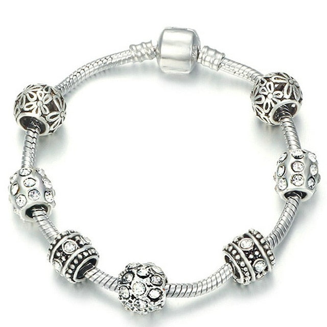 Dropshipping AAA Zircon Charm Bracelet for Women Fit Pandora Bracelet Jewelry DIY Making Accessories Gifts