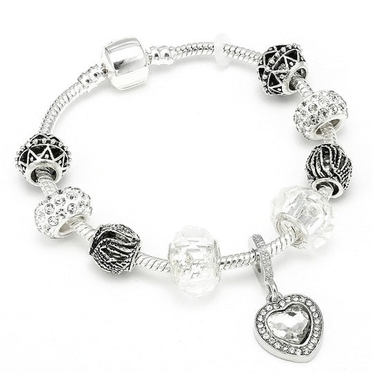 HOMOD Authentic Silver Plated 925 Crown Beads Key Crystal Heart Charm Bracelet Fits Pandora Bracelet For Women DIY Jewelry