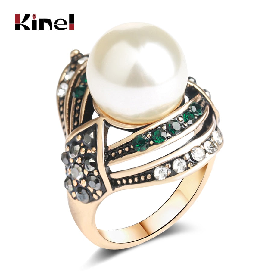 Kinel Vintage Jewelry Pearl Ring For Women Antique Gold Wedding Party Female Turkish Jewelry 2018 New
