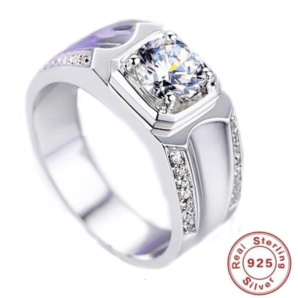 BFQ S925 Sterling Silver Open Diamond Ring Men's Luxury Weddings Ring  Jewelry Gift