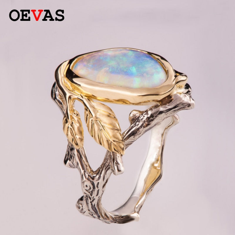 Elegant Branch leaves Opal rings for women high quality Engagement ring 2019 Luxurious brand jewelry best gift for girlfriend