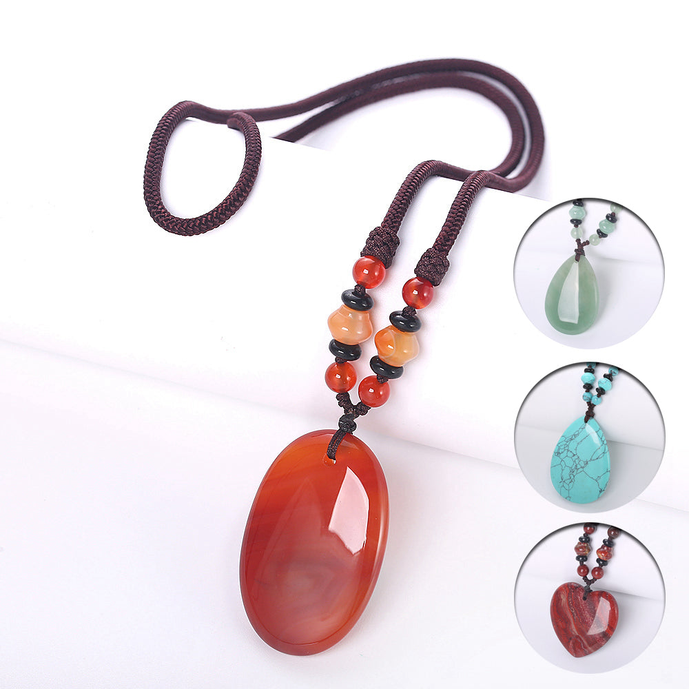 Natural Stone Rock Amber Agate Opal Topaz Stone Tiger Eye Obsidian Quartz Crystal Healing Chakra Pendant Necklace Women Jewelry