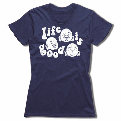 Life-Is-Good-Bitty-Buda-Women-T-Shirt-Navy