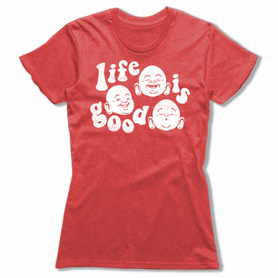 Life-Is-Good-Bitty-Buda-Women-T-Shirt-Red