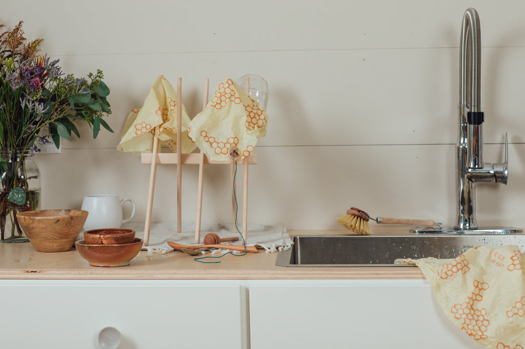 drying rack with bees wrap