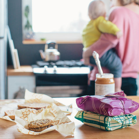Wrapping sandwiches in Bee's Wrap reusable beeswax sandwich wraps
