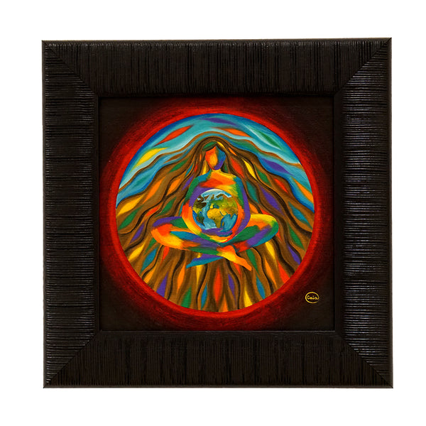 creative flow mandala rainbow woman holding the planet colours