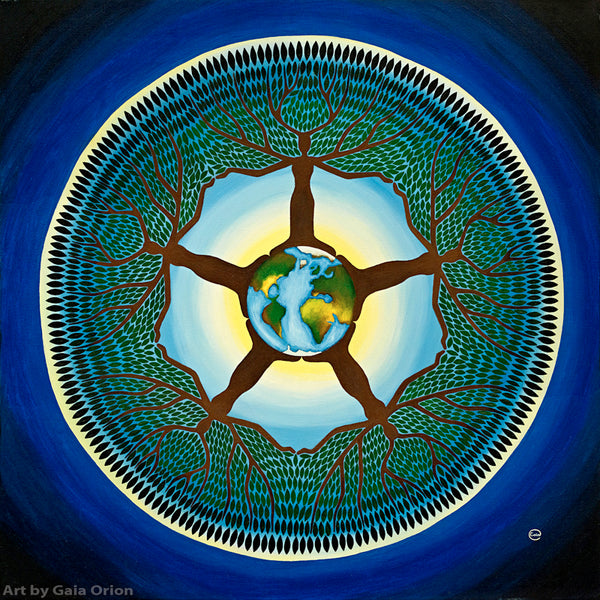 equilibrium mother earth planet tree women mandala