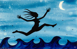 free woman sacred feminine reaching for the moon