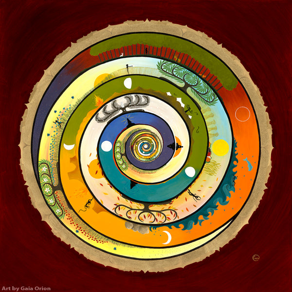 wholeness life journey spiral mandala rainbow chakras art greeting card