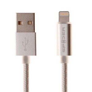 SPIDER Lightning Charging and Sync USB Cable-with LED indicator light (MFi certified), Item#E-USBLED-SV1M