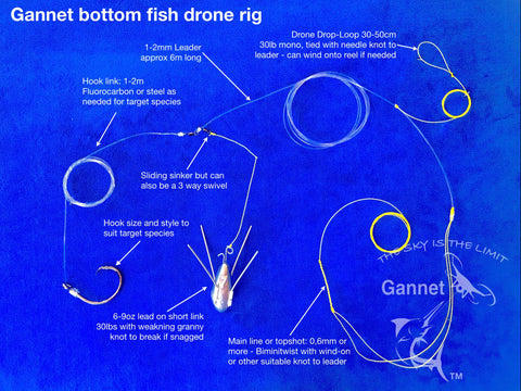 Gannet Drone Fishing Bottom Trace Setup