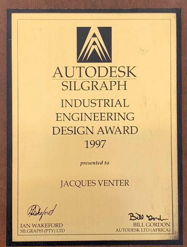 1997: best industrial design award (Africa) 3D modeling and design on Majuba power station.