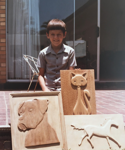 1982: aged 10 wood carvings