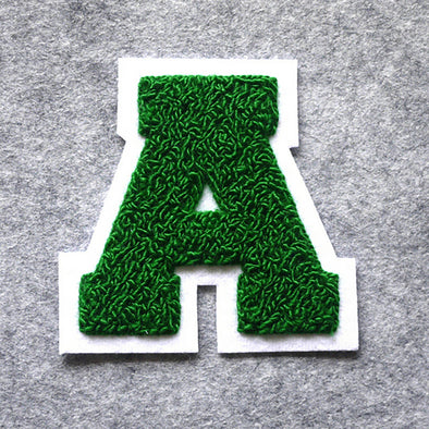 "Varsity Letter Patch, 4.5"" Full Block font. GREEN/WHITE"