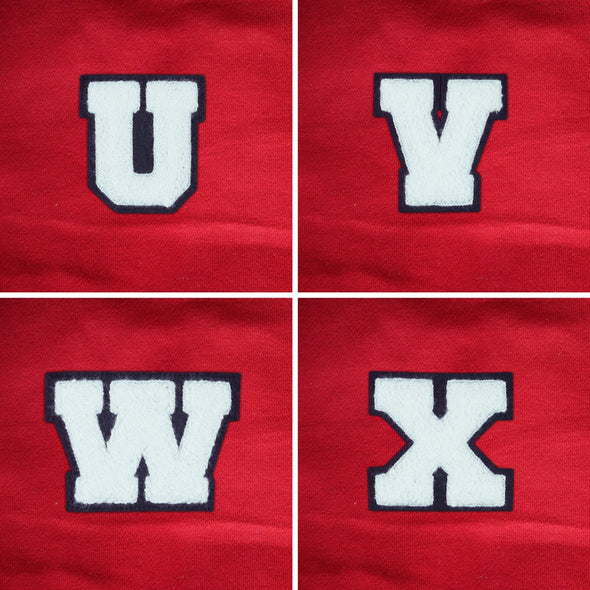 "MEDIUM Varsity Letter Chenille Felt Patch 3.5"" White/ Black"