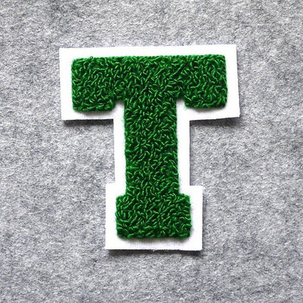 "Varsity Letter Patch, 3.5"" Full Block font. GREEN/WHITE"